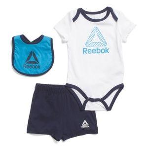 Brand New REEBOK Newborn Boys 3pc Bodysuit Short